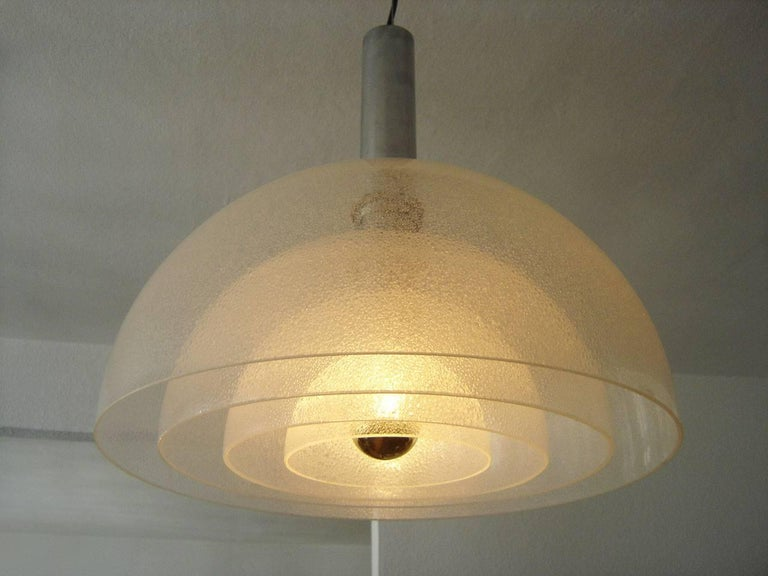 Polished Large Four-Layer Murano Glass Pendant Lamp by Carlo Nason for Mazzega, 1960s For Sale