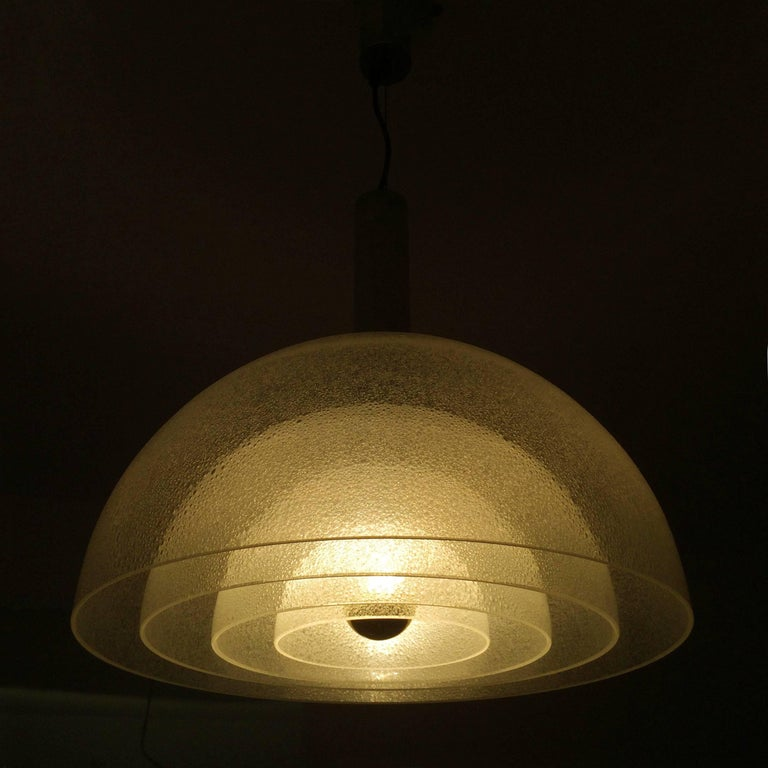 Italian Large Four-Layer Murano Glass Pendant Lamp by Carlo Nason for Mazzega, 1960s For Sale