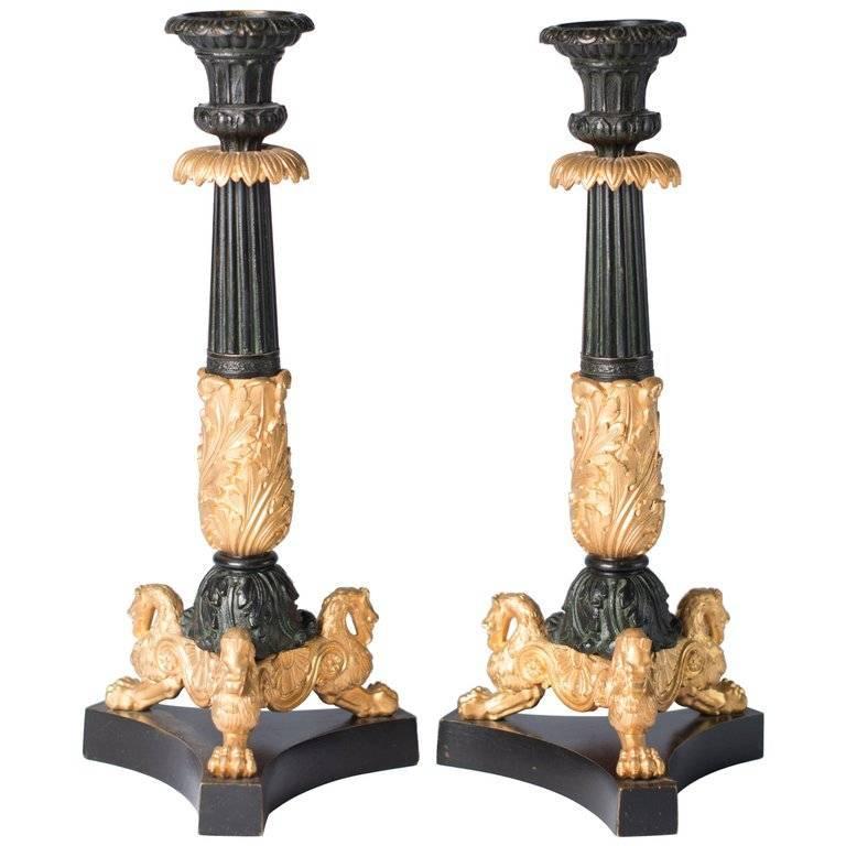 Candlesticks Antique Gilded Bronze, France, 1850