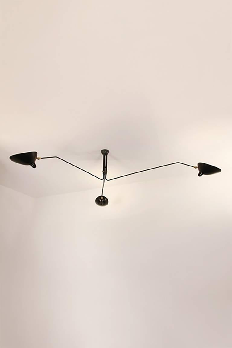 French Serge Mouille Brass and Aluminum Mid-Century Modern Three Arms Ceiling Lamp For Sale