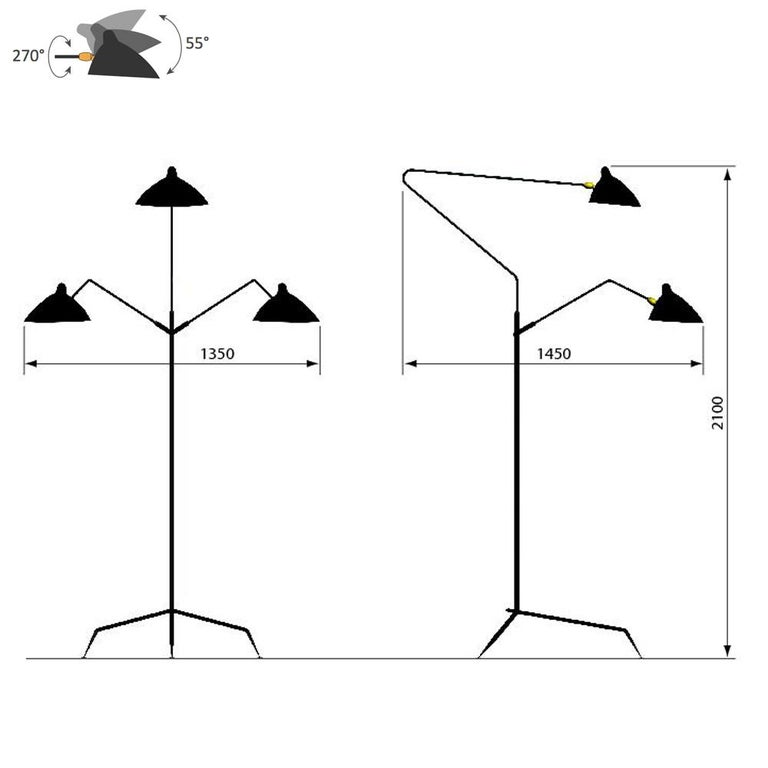Floor lamp three-arms designed by Serge Mouille in 1952.  Measurements : 135 x 145 x h210 cm 53w x 57d x 83h inches.  Given the rarity of Serge Mouille lamps, in 1999 his widow Gin decided to introduce a series of number limited editions of his