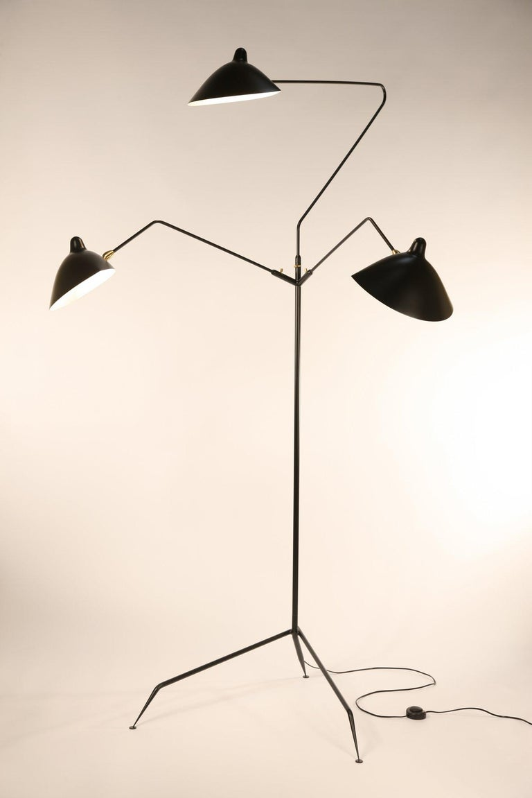 French Serge Mouille Brass and Black Aluminum Mid-Century Modern Floor Lamp Three-Arms For Sale