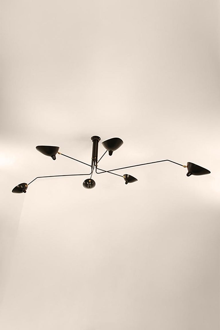 French Serge Mouille Brass and Aluminium Mid-Century Modern Six Arms Ceiling Lamp For Sale