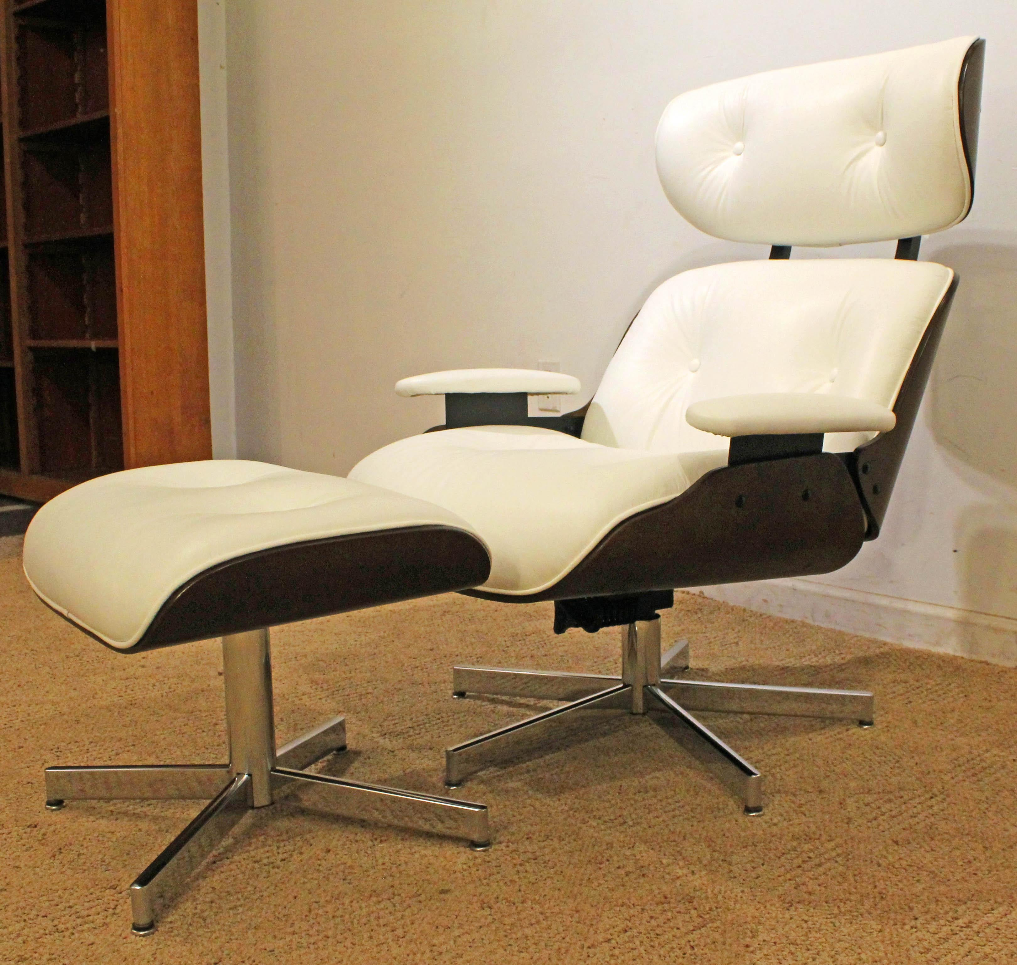 Offered Is A Midcentury Danish Modern Selig Eames Leather Swivel Lounge  Chair