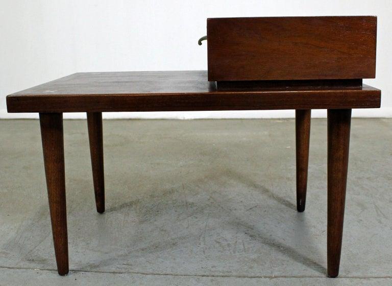 Aluminum Mid-Century Modern Merton Gershun American of Martinsville Walnut End Table For Sale