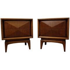 Pair of Mid-Century Modern Walnut 3D Diamond Front Nightstands