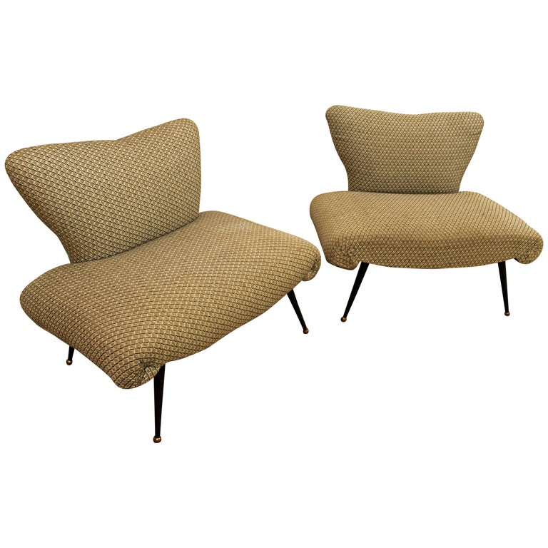 Pair of Mid-Century Modern Zanuso Style Italian Lounge Chairs
