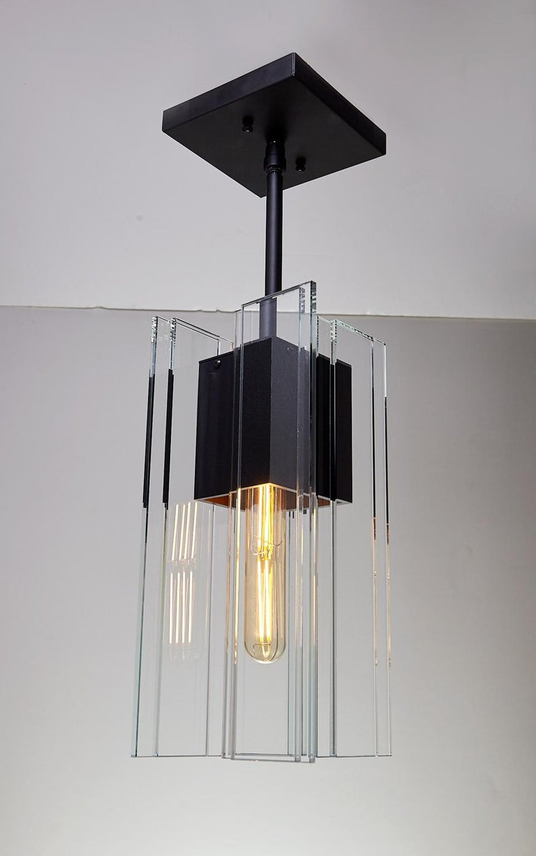 Modern Clear Glass and Black Anodized Aluminum Contemporary Led Light Pendant For Sale