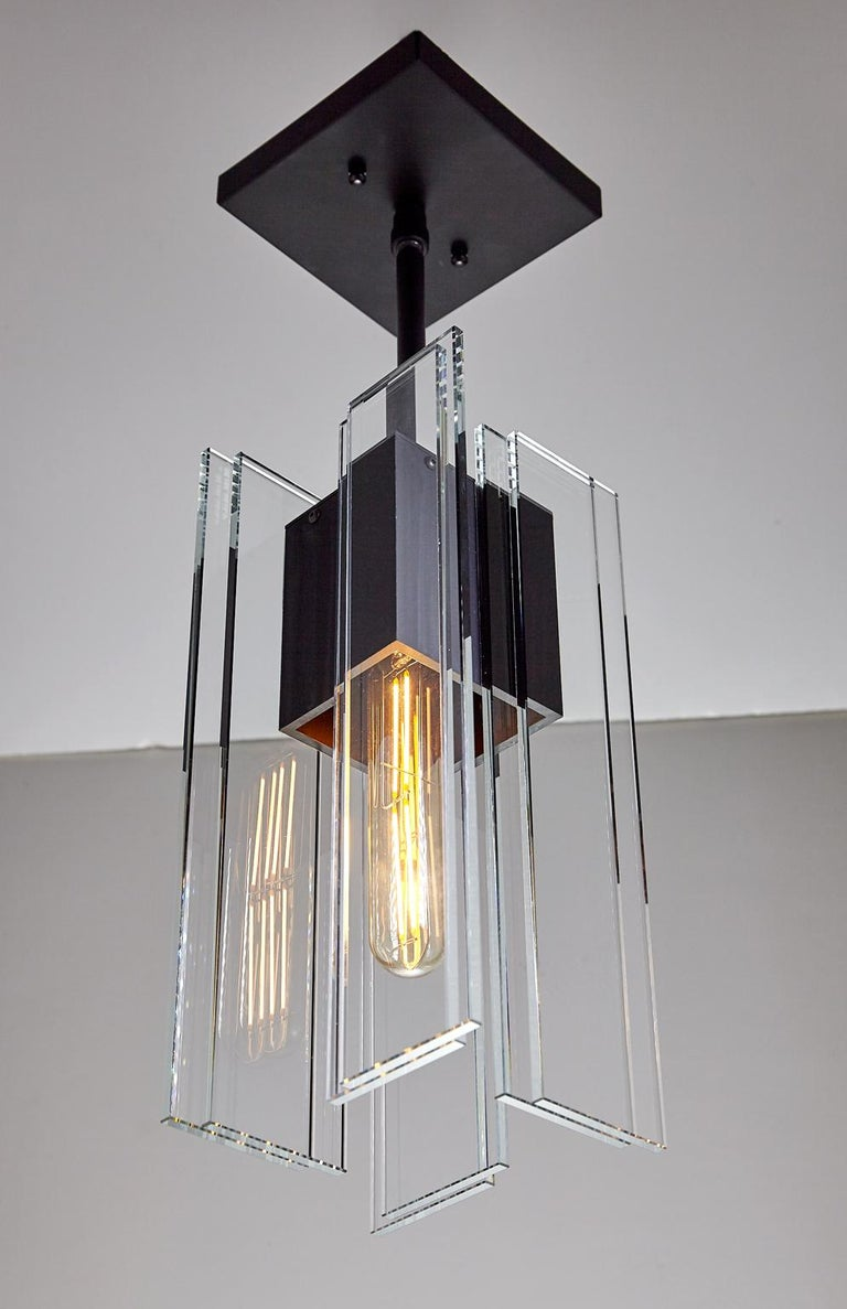 American Clear Glass and Black Anodized Aluminum Contemporary Led Light Pendant For Sale