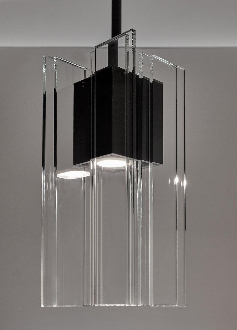 Clear Glass and Black Anodized Aluminum Contemporary Led Light Pendant In New Condition For Sale In Waltham, MA