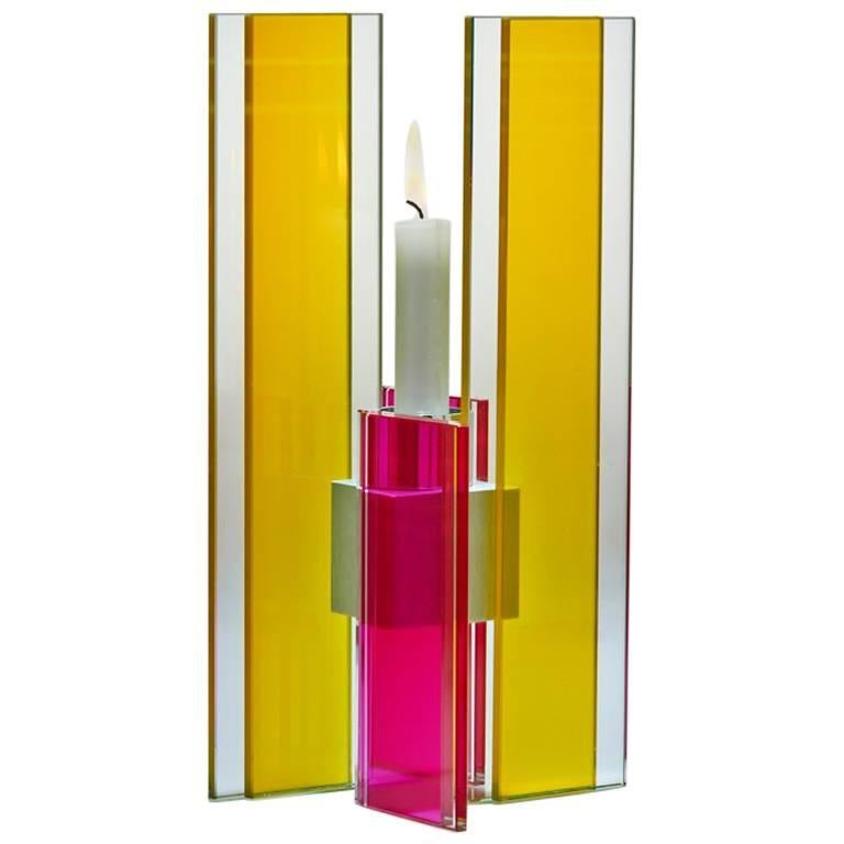 Candleholder Deco Design Tabletop Glass Aluminium Contemporary Yellow Red For Sale