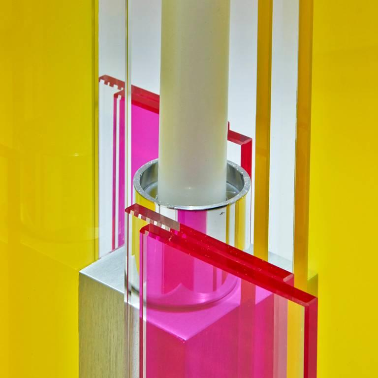 Anodized Candleholder Deco Design Tabletop Glass Aluminium Contemporary Yellow Red For Sale