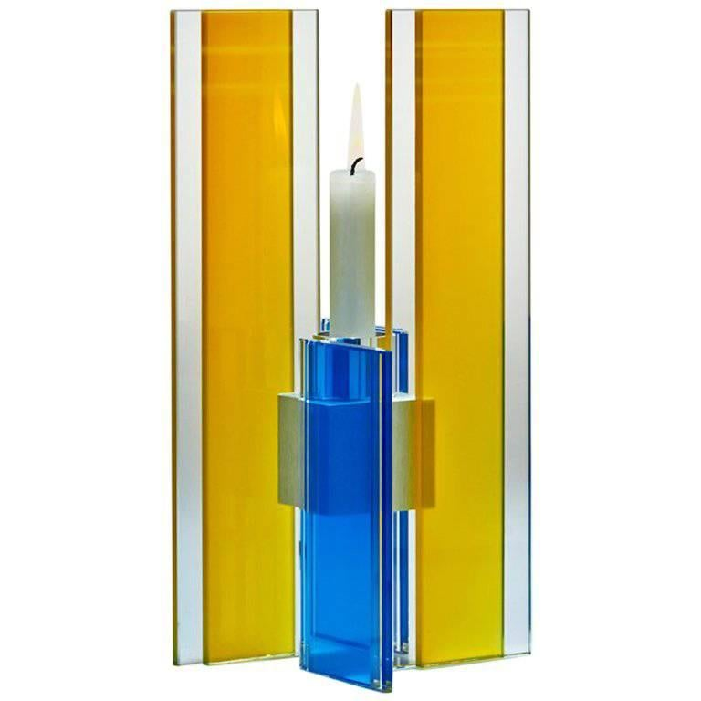 Candleholder Deco Design Tabletop Glass Aluminum Contemporary Yellow Blue For Sale