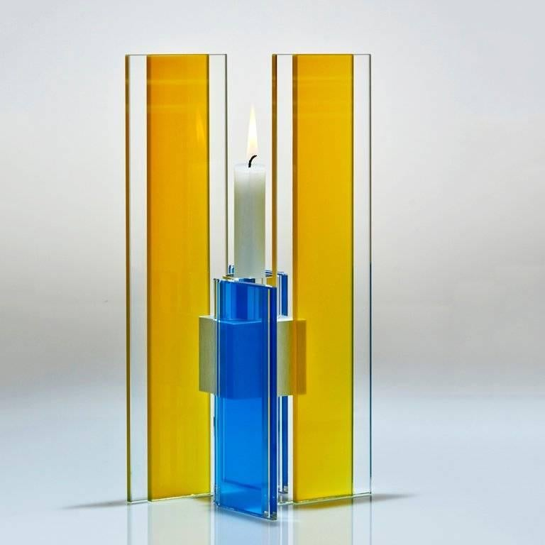 American Candleholder Deco Design Tabletop Glass Aluminum Contemporary Yellow Blue For Sale