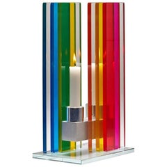 Contemporary Rainbow Colored Glass & Aluminum Candlestick