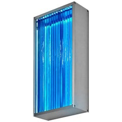 Contemporary Blue Glass & Aluminum LED Wall Sconce Light