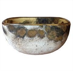 Rare Small Alfredo Barbini Scavo Glass Bowl
