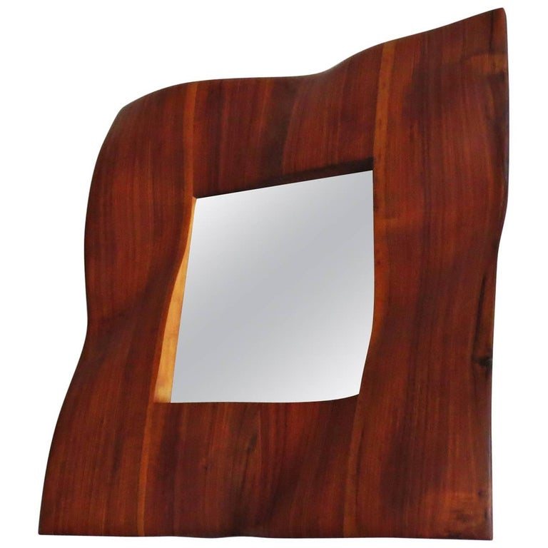 "Mirror ""Wave"" Walnut Organic Design Handcrafted For Sale"