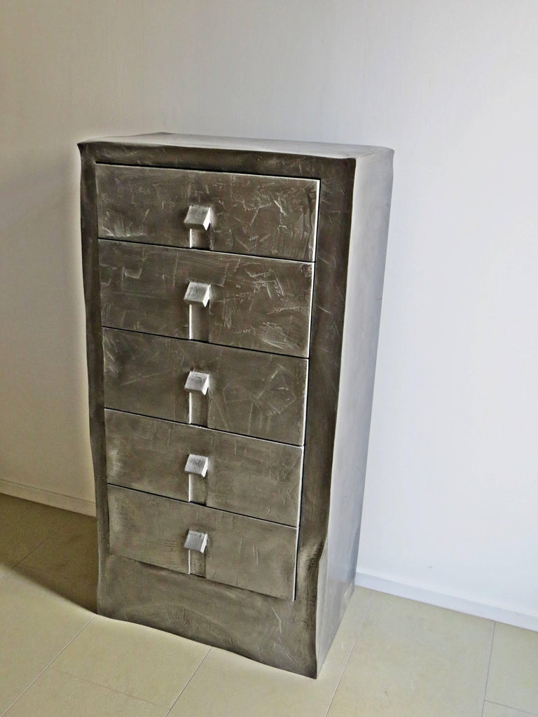 Modern Dresser Made of Aluminium Handcrafted, One of a Kind For Sale