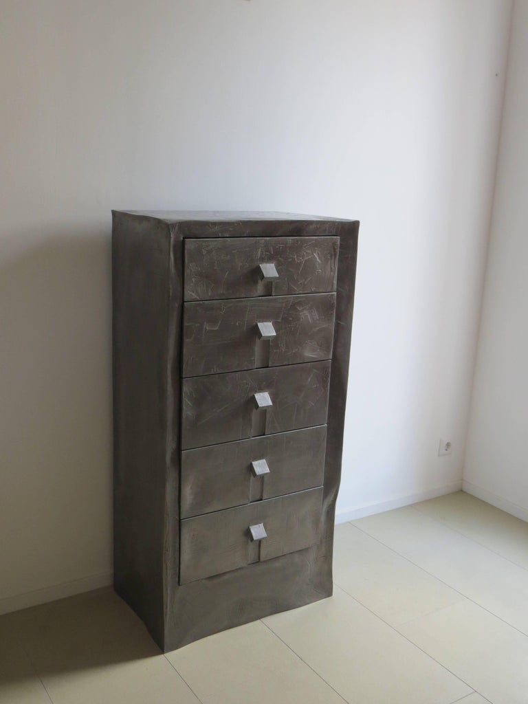 Hand-Crafted Dresser Made of Aluminium Handcrafted, One of a Kind For Sale