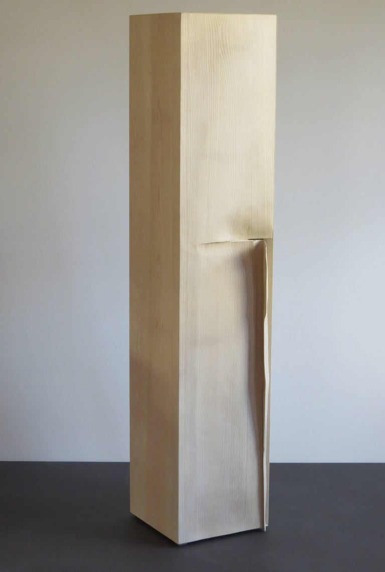 Organic Modern Tower Cabinet, Handmade, Solid Wood, Made in Germany, High Cabinet For Sale