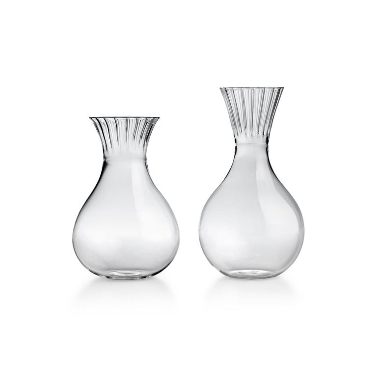 Italian Routine Set of Four Water Glass in Mouth Blown Glass Designed by Matteo Cibic For Sale