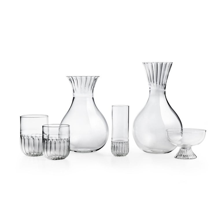 Modern Routine Set of Four Wine Glass in Mouth Blown Glass Designed by Matteo Cibic For Sale