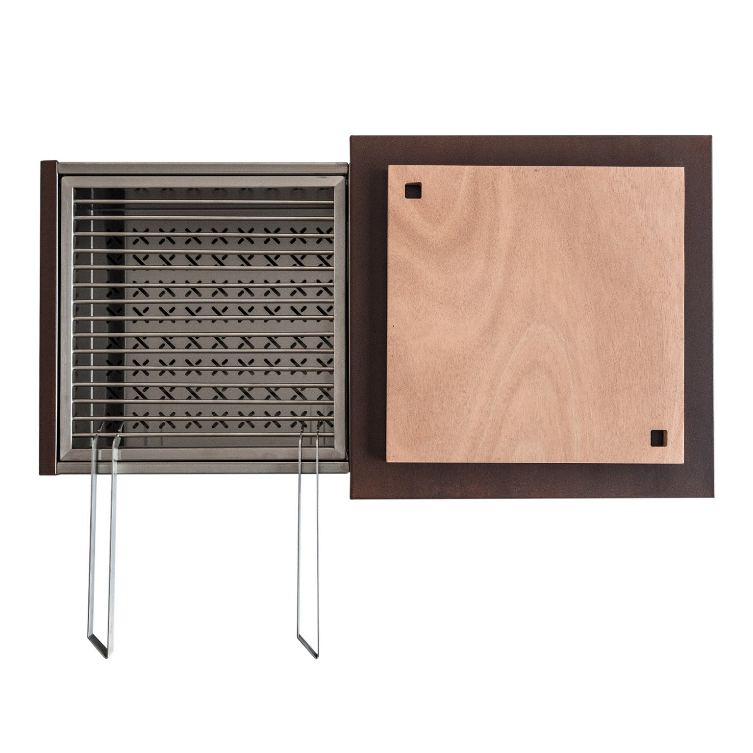Contemporary Compact Garden Charcoal Barbecue with sliding grills, Snail Mono