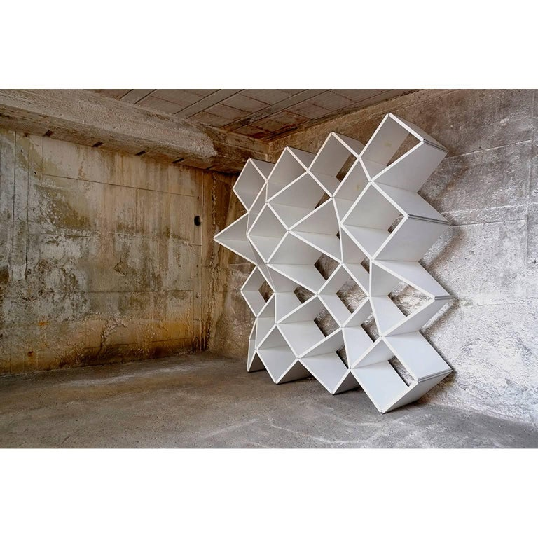 Modern Bookcase in Pvc Foam and Extruded Aluminum, X.me 4x4 #02 In Excellent Condition For Sale In Palermo, IT