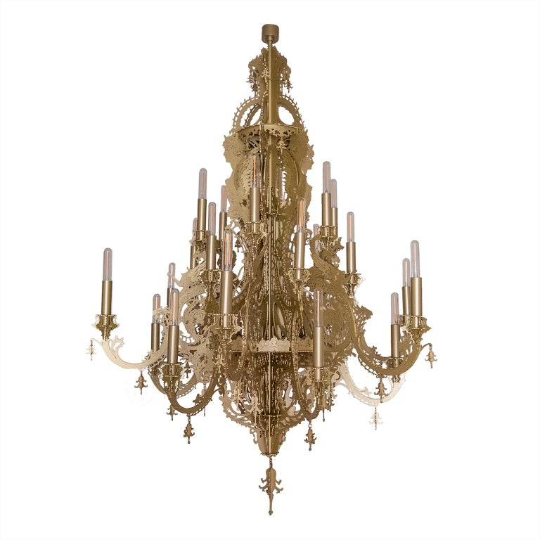"""""""Gina"""" White Gold Metallic Lace Chandelier with 24 Lights"""