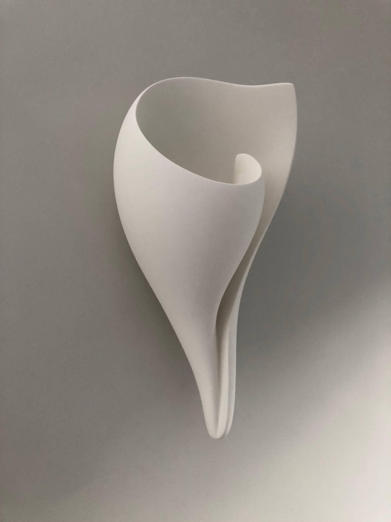 Organic Modern Handmade Monumental Shell Wall-Mounted Sculpture White Plaster, Hannah Woodhouse For Sale