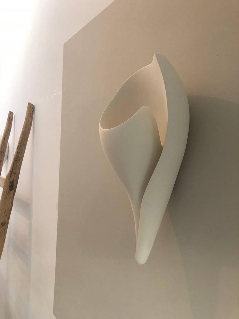 British Handmade Monumental Shell Wall-Mounted Sculpture White Plaster, Hannah Woodhouse For Sale