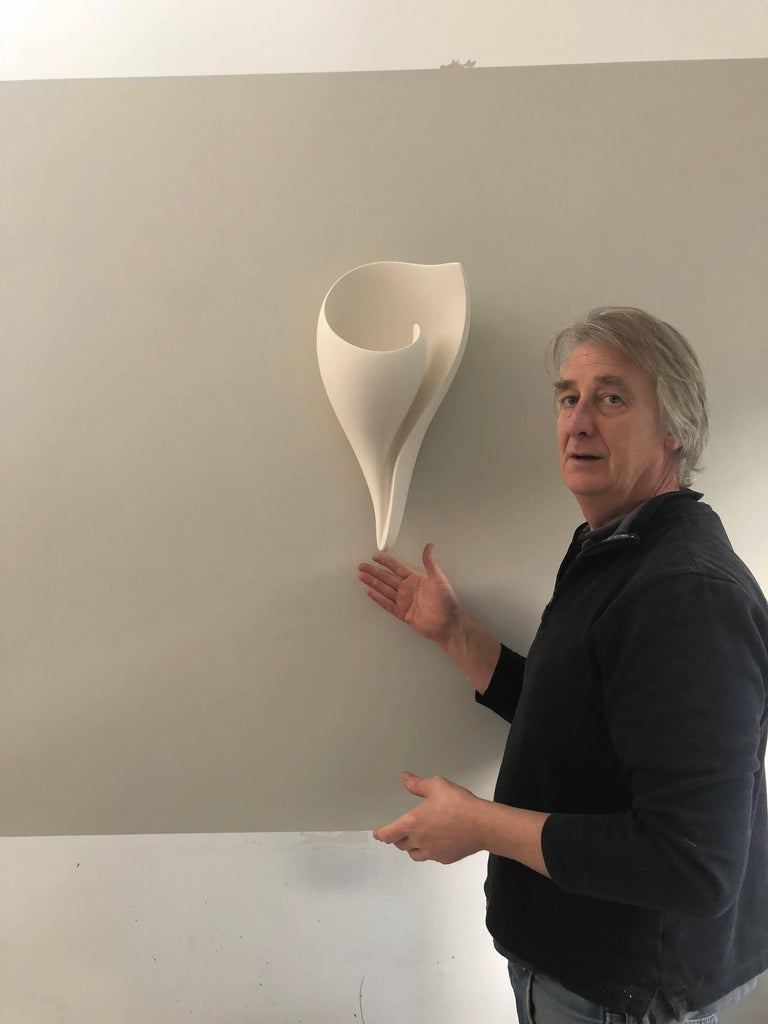 Handmade Monumental Shell Wall-Mounted Sculpture White Plaster, Hannah Woodhouse For Sale 3