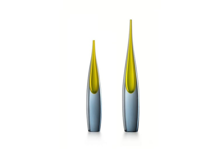 Mid Vase In Grey And Yellow Muranos Glass Pinnacolo By L Gaspari