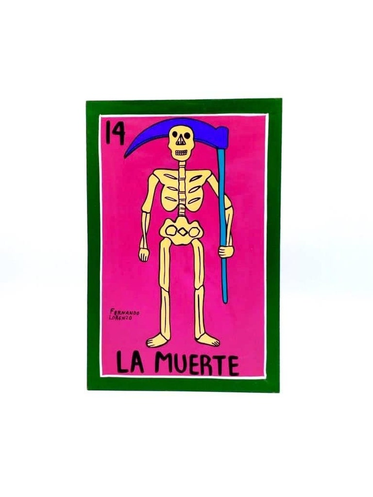 Familia Lorenzo, Hand-Painted Wood, Mexican Loteria In Excellent Condition For Sale In Mexico City, MX