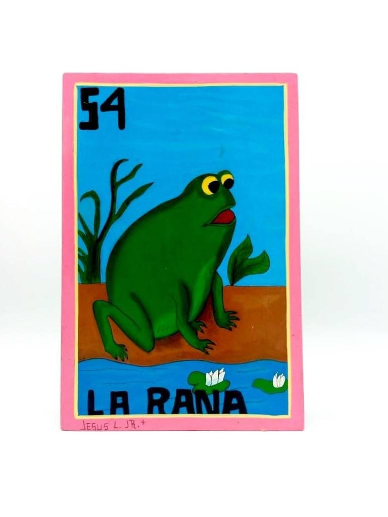 Familia Lorenzo, Hand-Painted Wood, Mexican Loteria For Sale 6