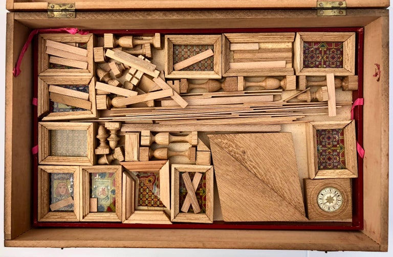 French Early 1900s Wooden Construction Game, Beautiful Architectural Details In Good Condition For Sale In Petaluma, CA