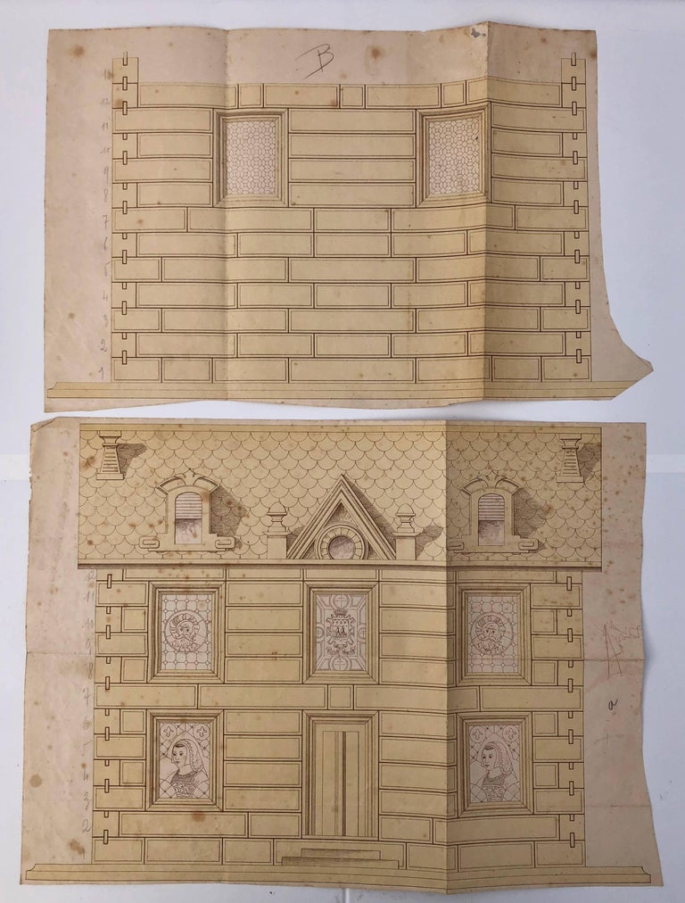 French Early 1900s Wooden Construction Game, Beautiful Architectural Details For Sale 3
