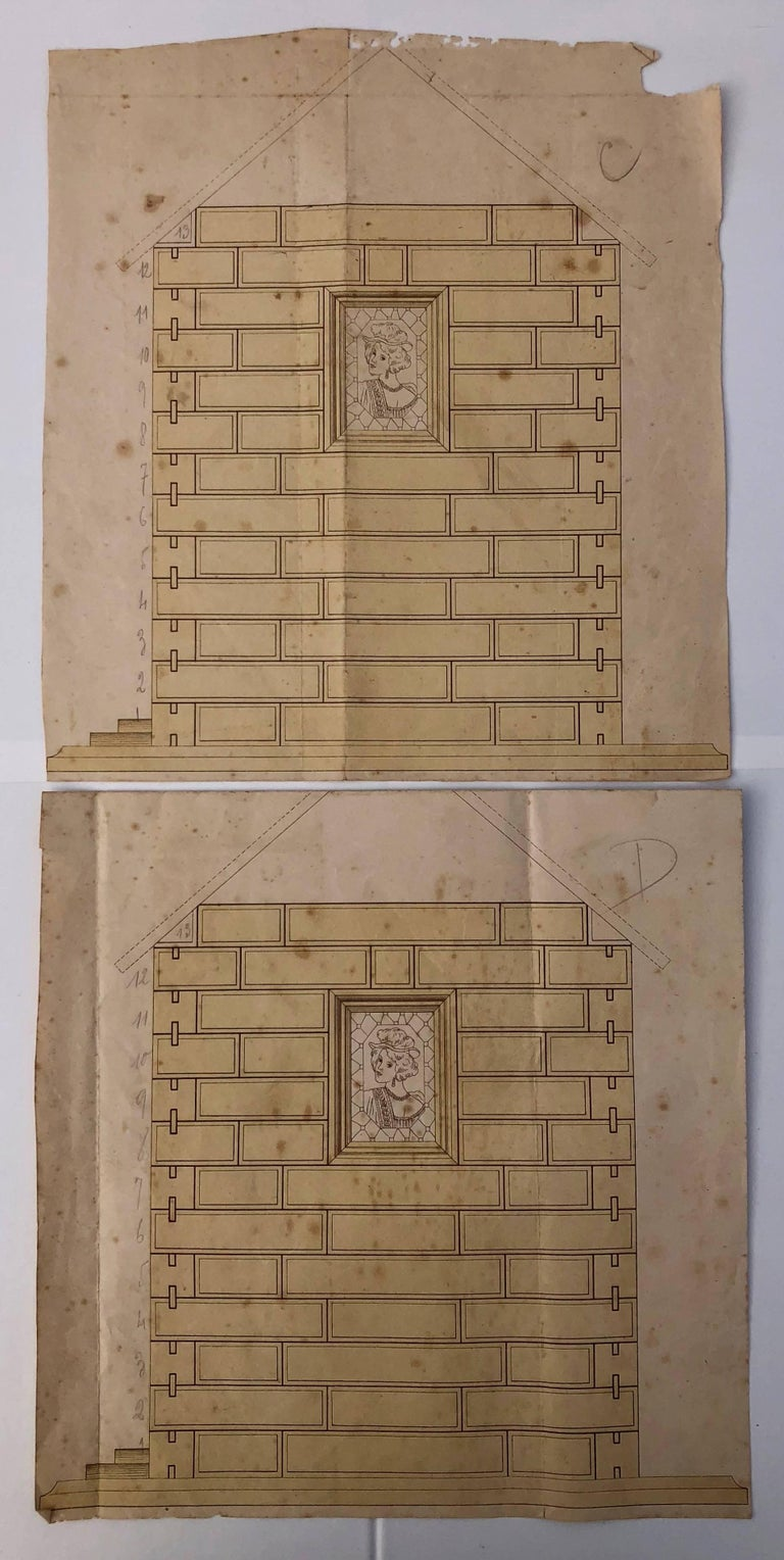 French Early 1900s Wooden Construction Game, Beautiful Architectural Details For Sale 2