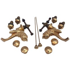 French 18-Karat Set of Two Faucets in the Shape of Dolphins, Mid-1900s