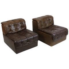 De Sede Model DS-11 Tufted Dark brown Leather Modular Sofa, Switzerland, 1970