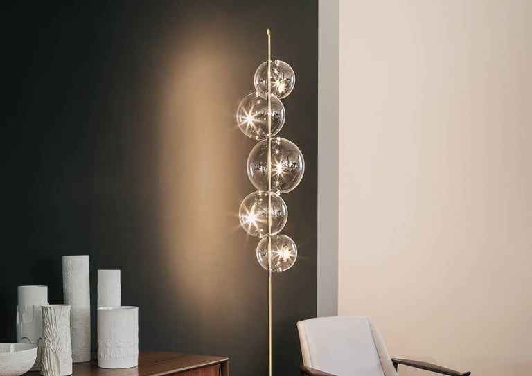 Grandine Five Lights Contemporary Standing/Floor Lamp Brushed Brass Blown Glass In New Condition For Sale In Novellara, IT