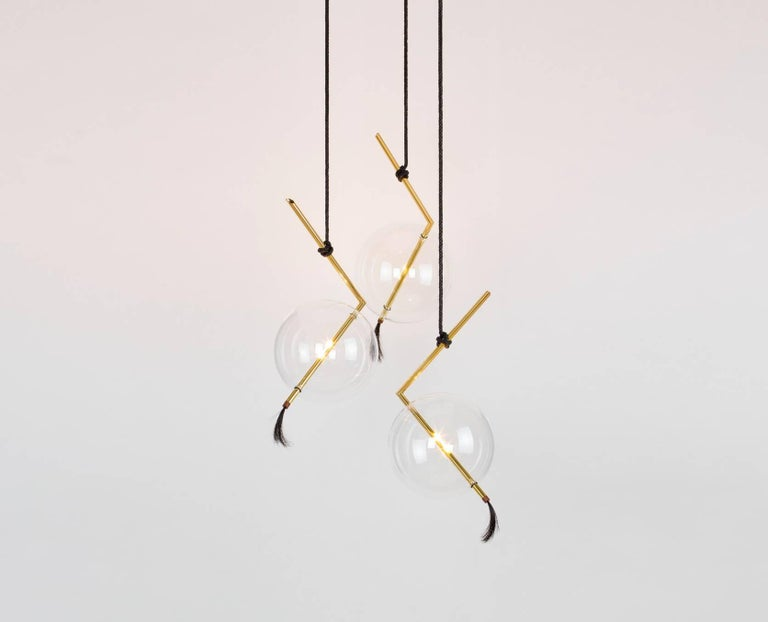Nuvola three light sculptural minimalist chandelier pendant brass nuvola three light sculptural minimalist chandelier pendant brass blown glass in excellent condition for sale aloadofball Choice Image
