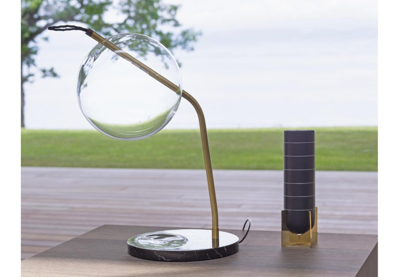 T-Mono Desk/Table Lamp Minimalist Dimmable Soft Touch Sensor, Brass, Marble  For Sale 2