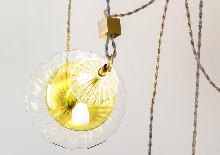 Italian Trapezi Four Lights Pendant/Chandelier Polished Brass Colorful Handblown Glass For Sale