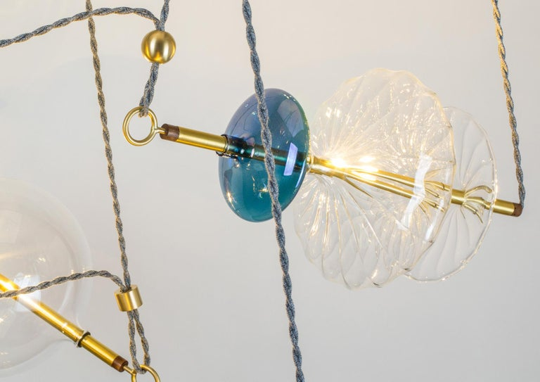Hand-Crafted Trapezi Four Lights Pendant/Chandelier Polished Brass Colorful Handblown Glass For Sale