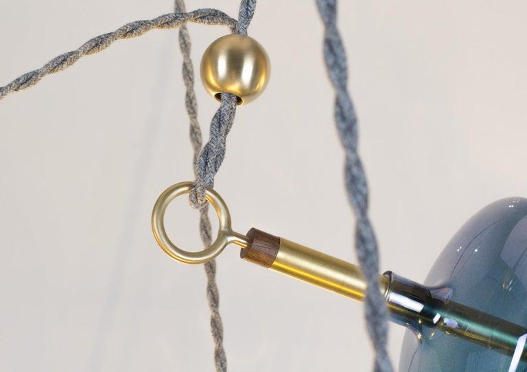 Trapezi Four Lights Pendant/Chandelier Polished Brass Colorful Handblown Glass For Sale 2