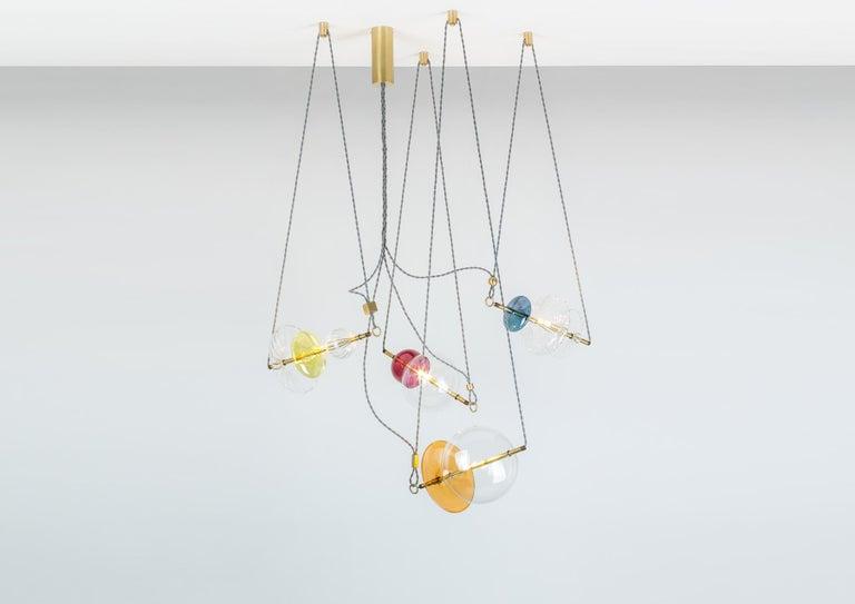 Trapezi Four Lights Pendant/Chandelier Polished Brass Colorful Handblown Glass For Sale 4