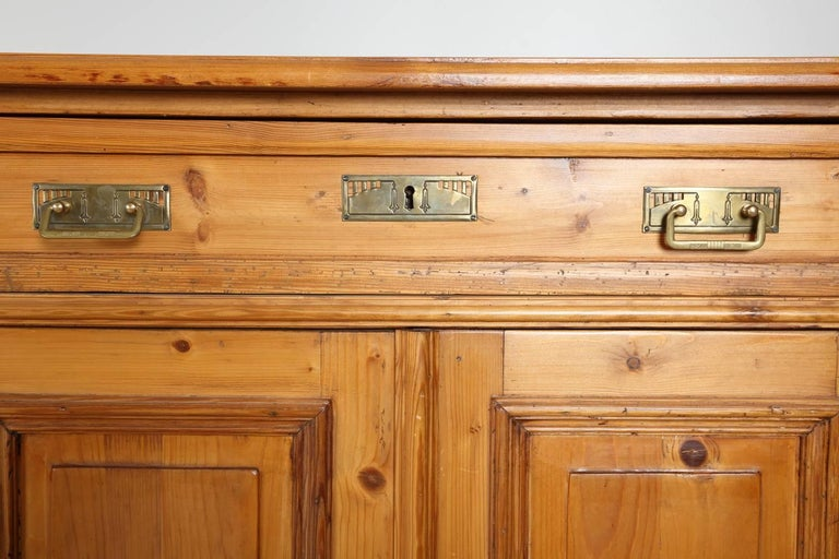 German Tall Pine Cabinet, circa 1880 For Sale