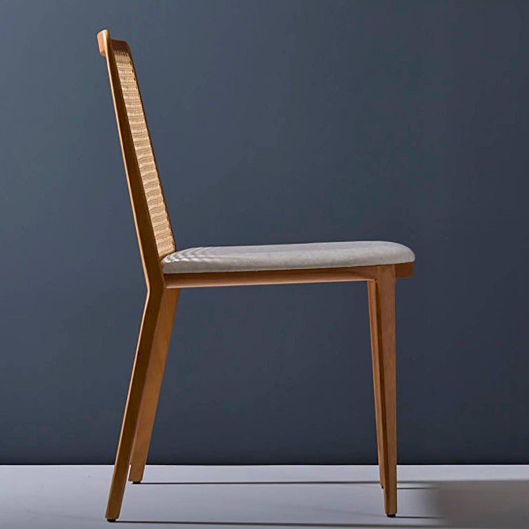 Brazilian Minimal style, solid wood chair, textiles or leather seatings, pattern backboard For Sale